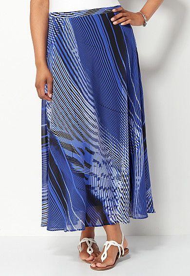 Blue Striped Chiffon Maxi Skirt, 9-0036174099, Blue Striped Chiffon Maxi Main View PDP