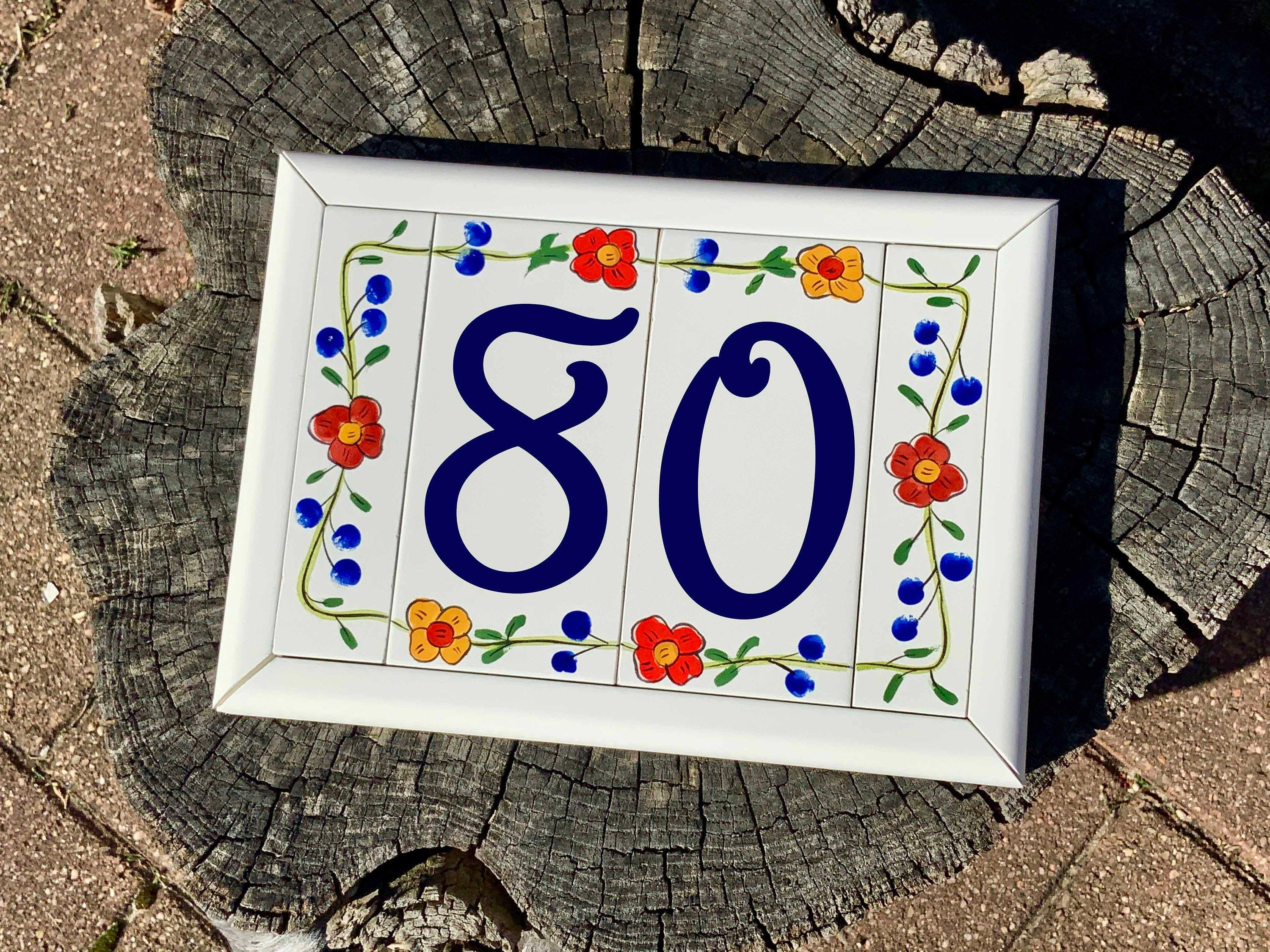 Floral House Numbers With Frame Personalized Custom Address Etsy In 2020 Ceramic House Numbers Backsplash Mural Ceramic Houses
