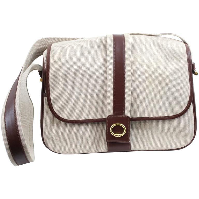 7034883948fa Hermes Vintage Shoulder Messenger Bag in Leather and Canvas in 2019 ...