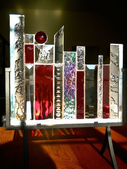 Red Abstract Textured And Beveled Glass On Display Stand By Jannie Interesting Glass Art Display Stands