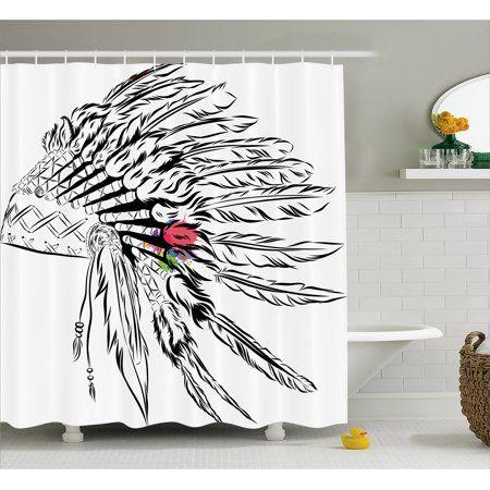 Feather Shower Curtain, Native American Headdress in Sketch ... on set sofa designs, set bathroom accessories, set bathroom christmas, set bedroom,