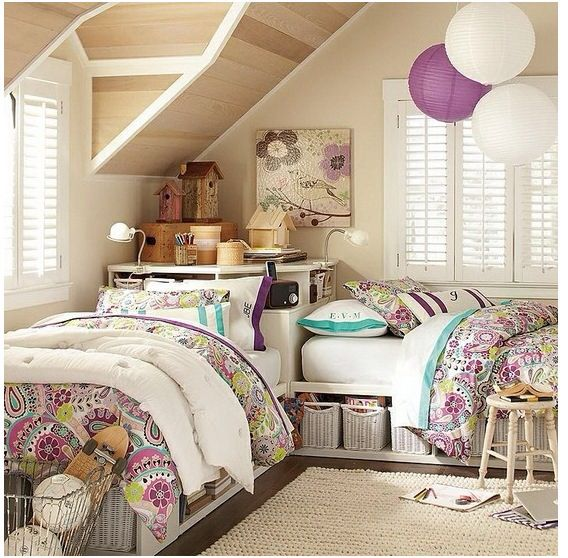 2 Beds In Narrow Attic Room Shared Girls Bedroom