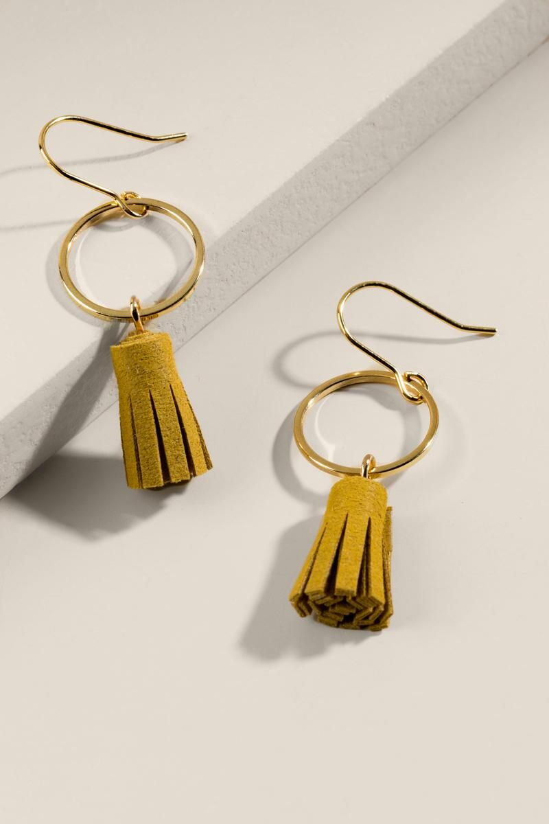 524858596 francesca's Mindie Leather Tassel Earrings - Mustard | Fall | Tassel ...