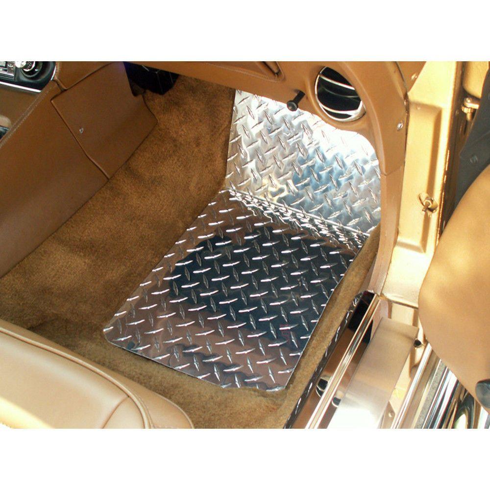 Details About Polished Aluminum Diamond Plate Floor Mats For Chevy Corvette