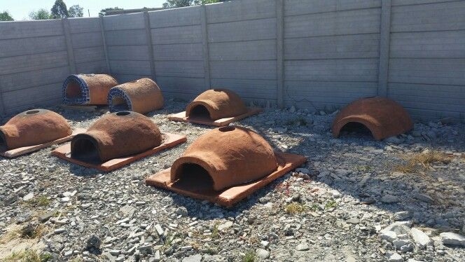 Concrete pizza ovens being fire tested in the fire bay. Before shipping.