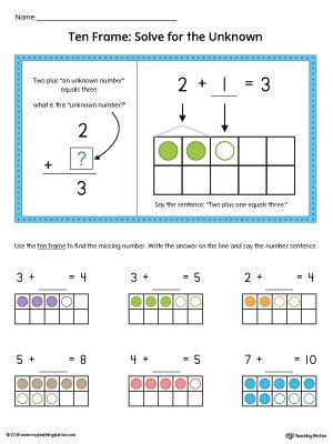 Ten Frame Solve for the Unknown Printable Worksheet (Color - ten frame template
