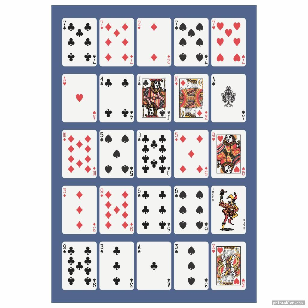 Printable Pokeno Game Boards Template For Use Printabler Com Printable Playing Cards Card Games For One Free Printable Cards