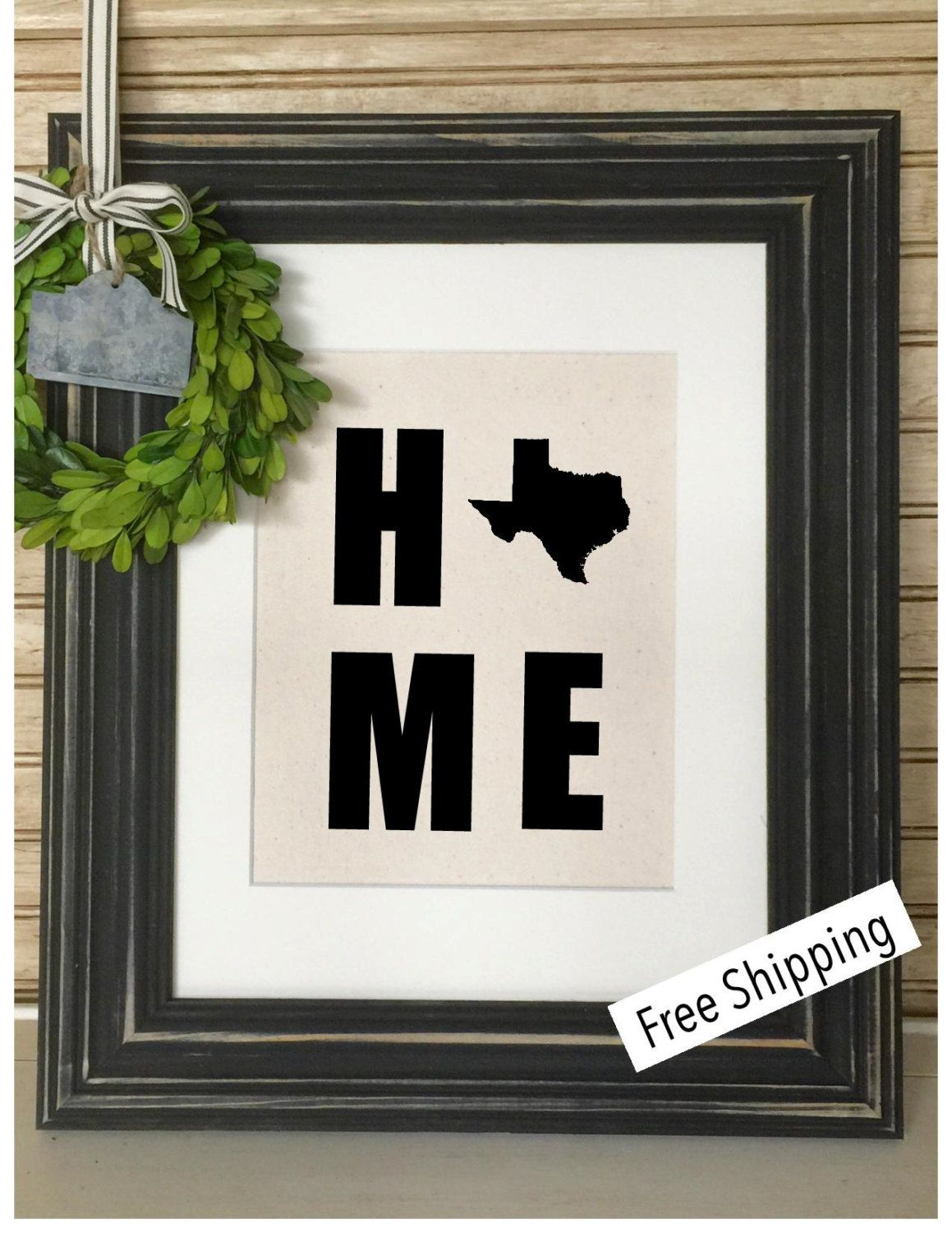 State Home Burlap Print |  Rustic Home Decor | Housewarming Gift by SimplyFrenchMarket on Etsy