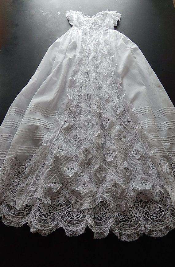 Antique French Handmade Christening Gown By