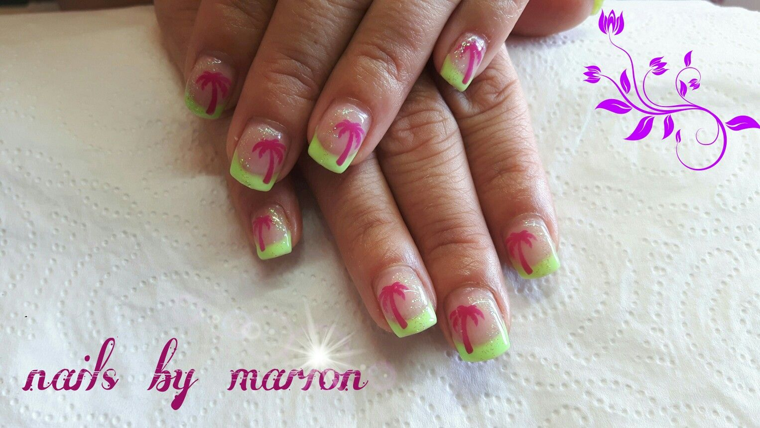 Gel, Gelnägel, French, Nageldesign, Nailart, Neon, grün, green ...