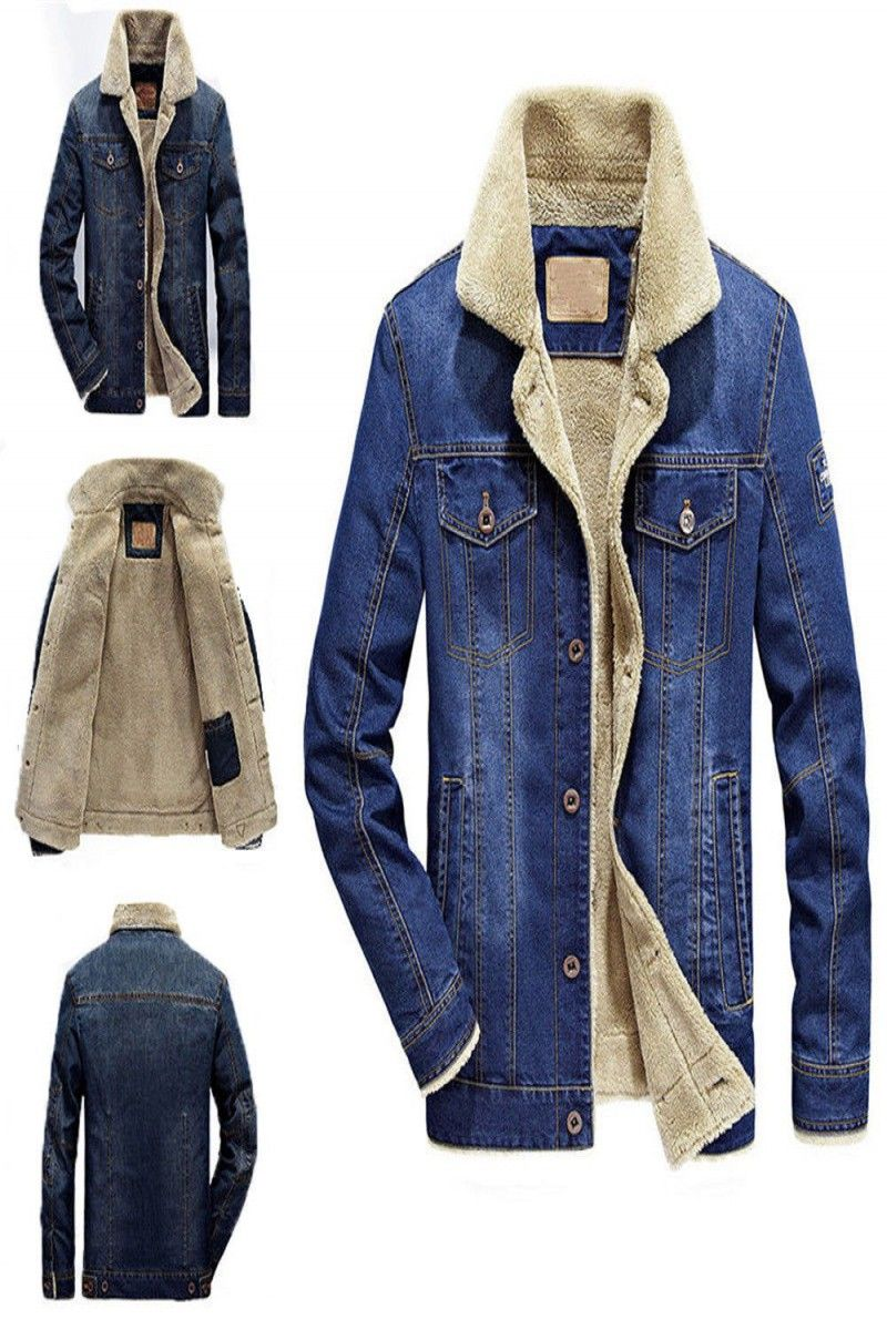 Menus jean jacket fur collar fleece lined fashion casual denim