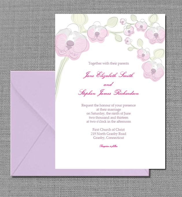 Wedding Invitation Card Template Free Download: Free PDF Download. Elegant Orchid Invitation Card