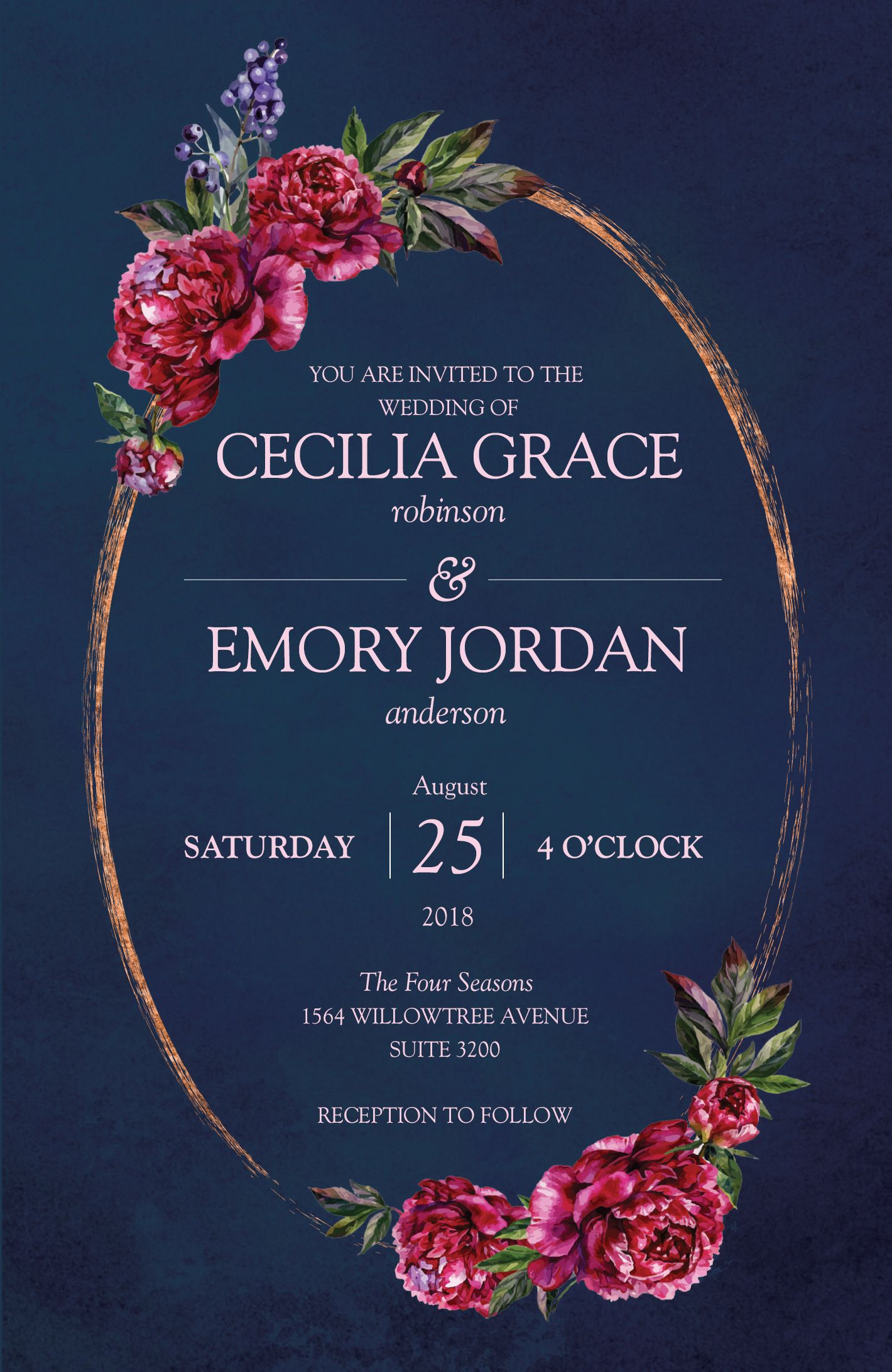 florals and navy invitations