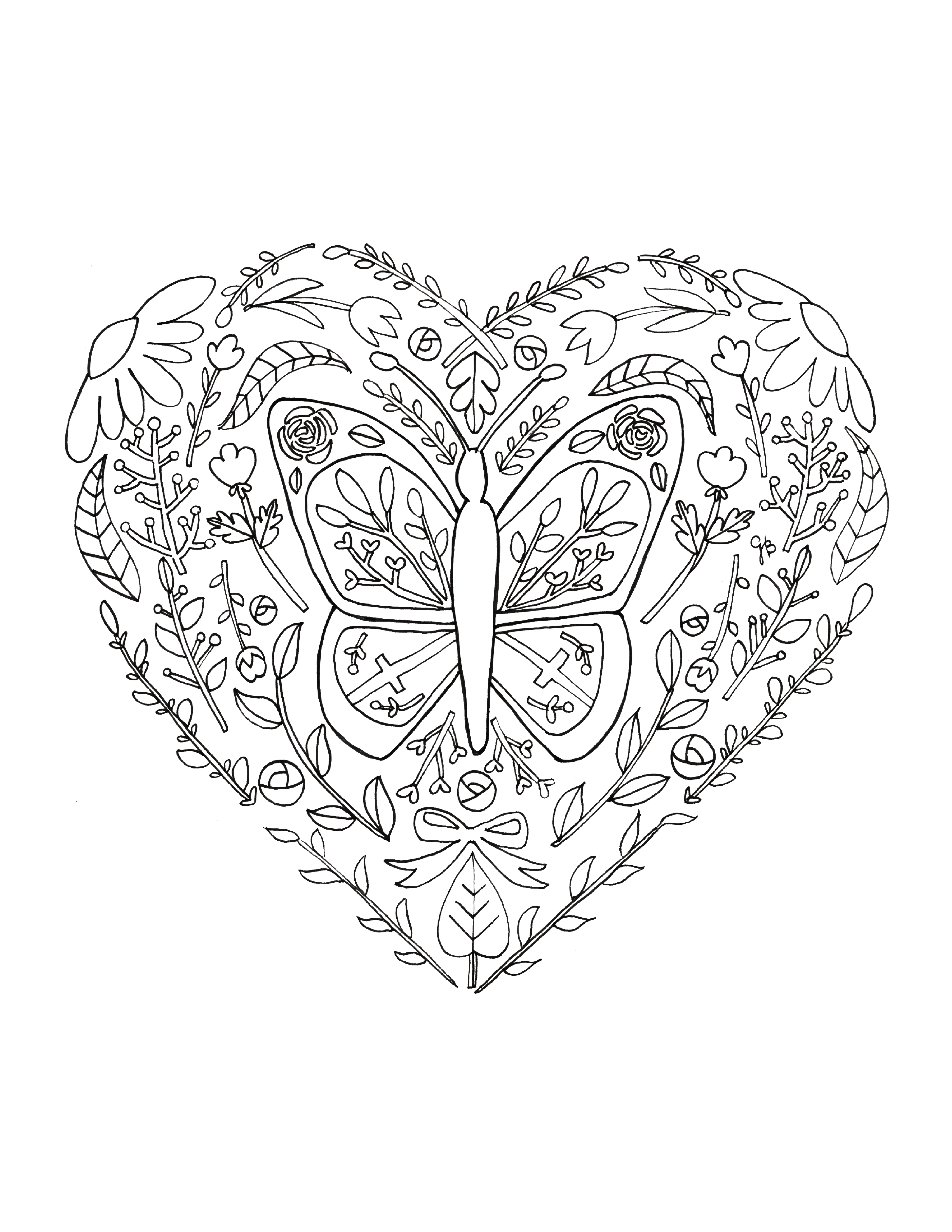 Free Butterfly Heart Coloring Page Inspired By Johanna Basford Hand Drawn By Gabriella Balagna Heart Coloring Pages How To Draw Hands Coloring Pages