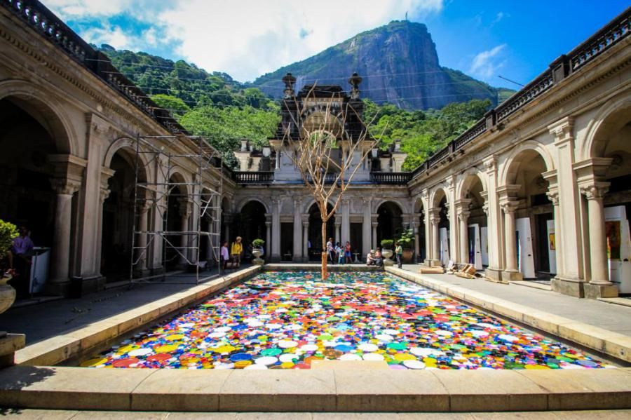 Floating artwork and rios famous figure south america
