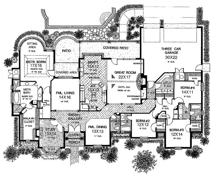 Layouts for one story houses