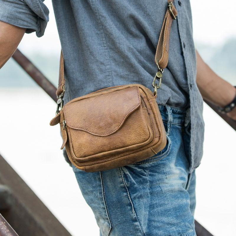6c5c9ec4e8 Leather Belt Pouch Phone Case Mens Waist Bag Shoulder Bag for Men –  iwalletsmen