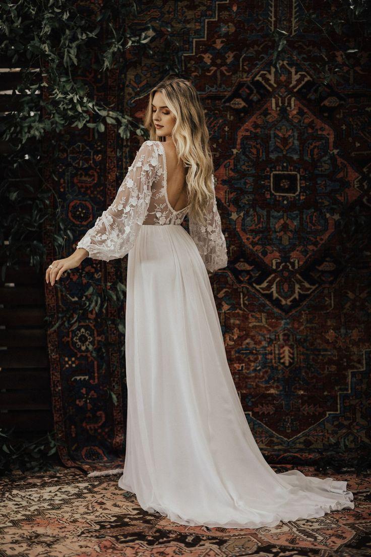 3d cotton lace and silk chiffon flowy wedding dress