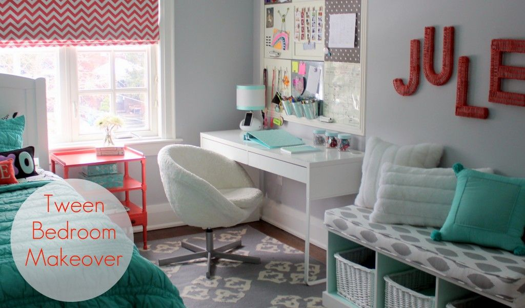 Tween Bedroom Makeover - love the @west elm Dhurrie Rug in this pretty space!