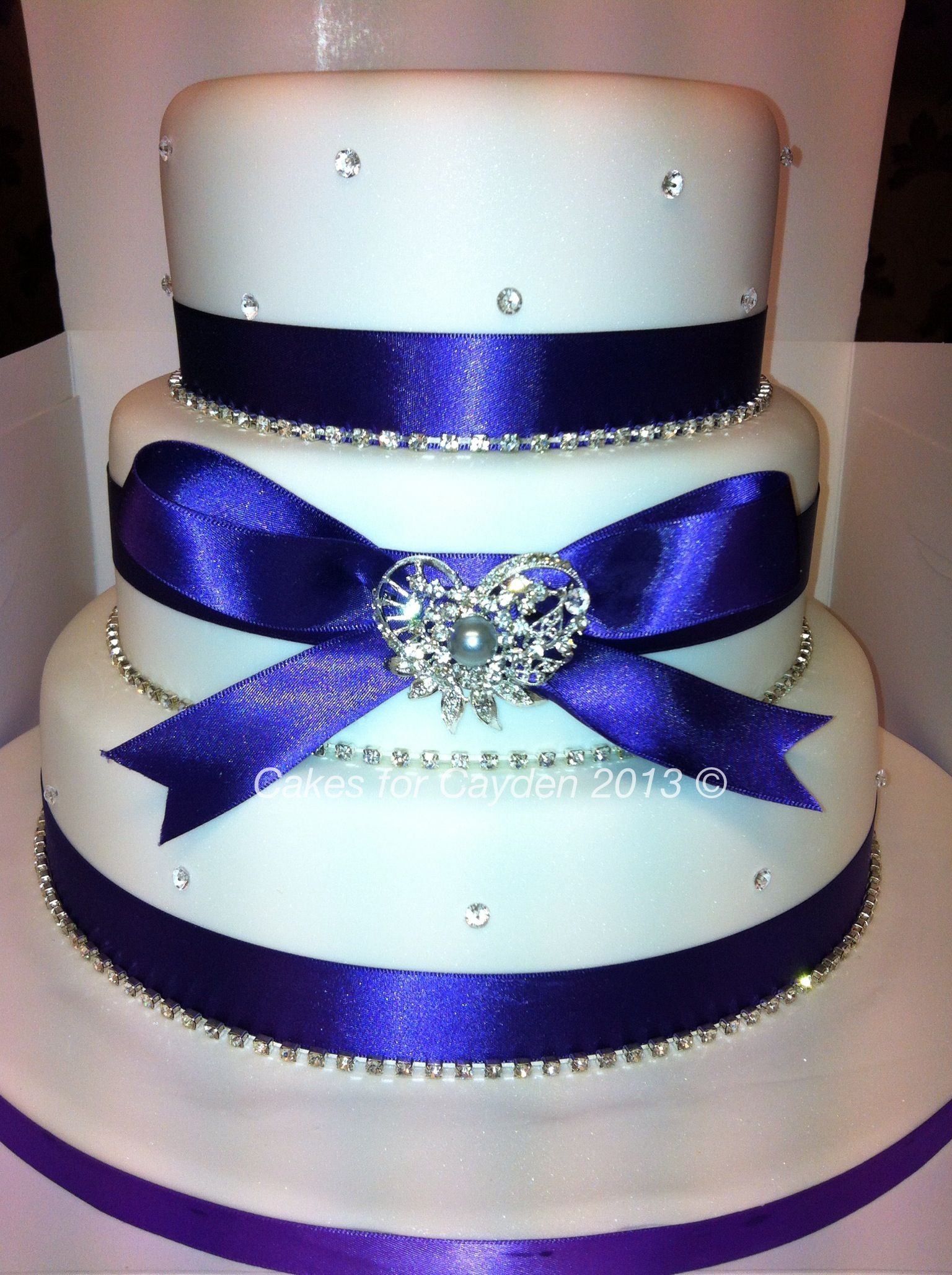 Purple Bling 3 tier wedding Cake Sapphira