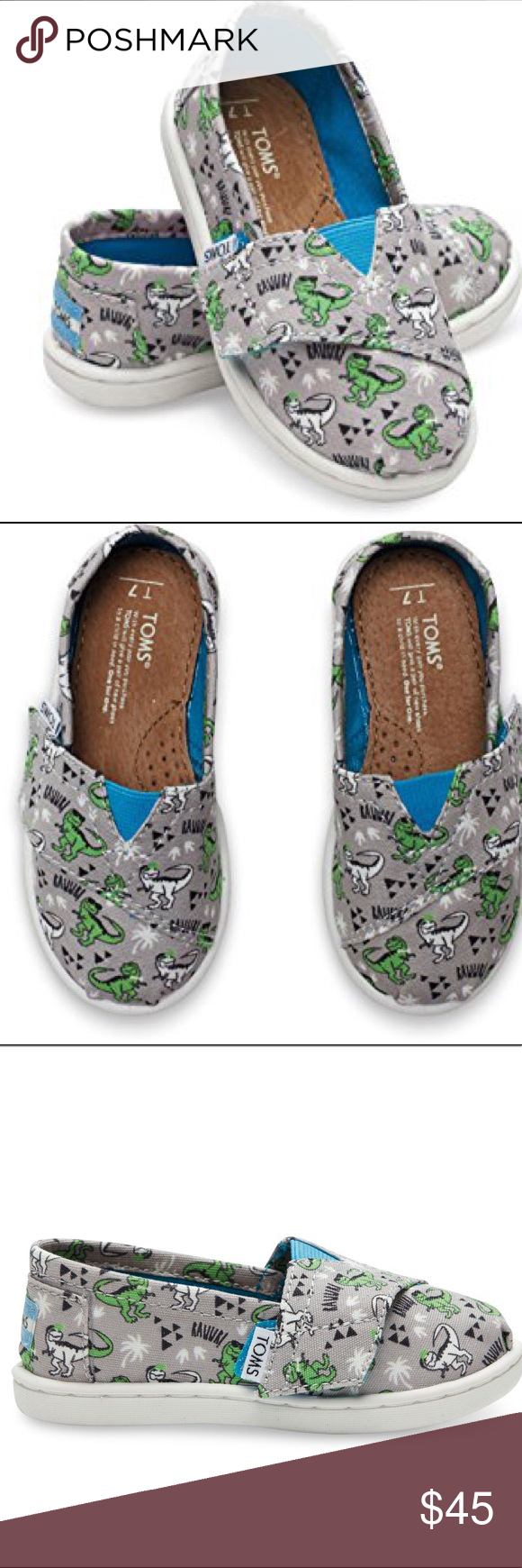 f70ef14393e Toms Classic Ash Canvas Dinosaur kids baby shoes 5 Infant baby Toms Tiny  canvas with all over dinosaur green print shoes. Worn few times around the  ...