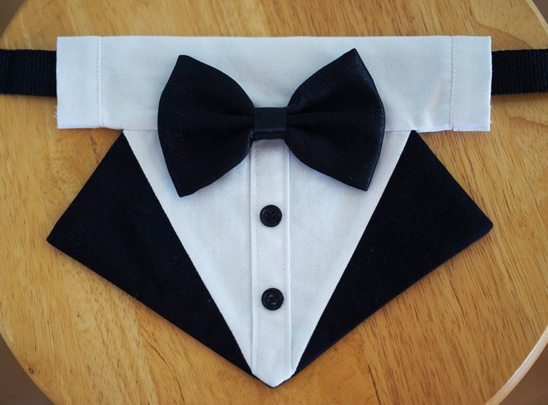 More Colors Available- dog tuxedo bandana, over the collar dog bandana, dog bib, dog formal attire, dog bow tie, dog wedding bowtie shirt