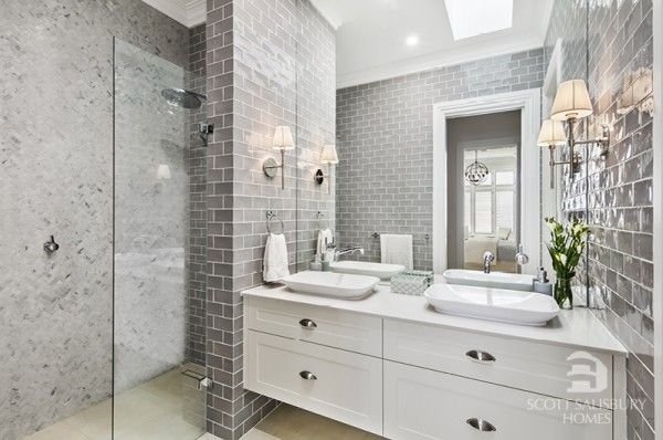 this hamptons style ensuite is designed by amity dry and built by scott salisbury homes my. Black Bedroom Furniture Sets. Home Design Ideas