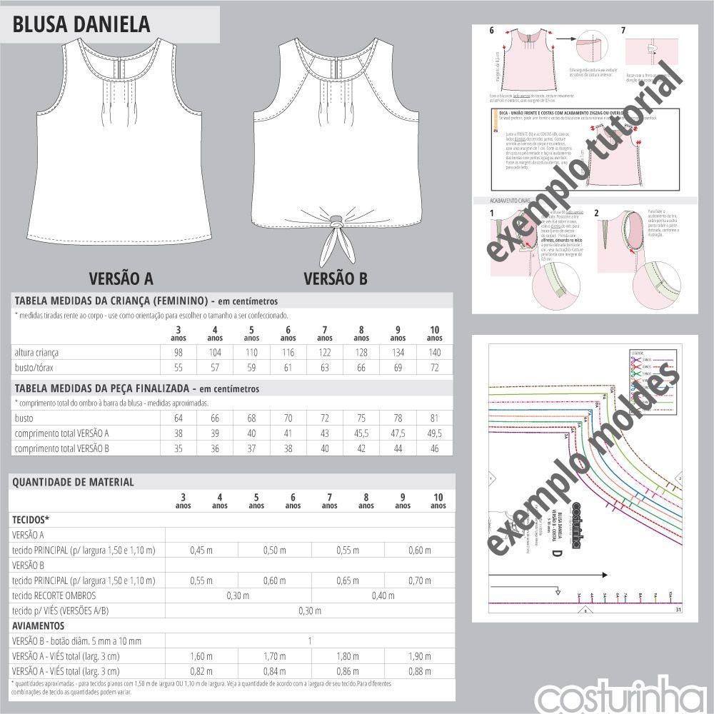 Apostila de costura - Tabelas de medidas para blusa regata infantil em  tricoline - molde de costura em PDF costurinha modelagem 514fb56e11c