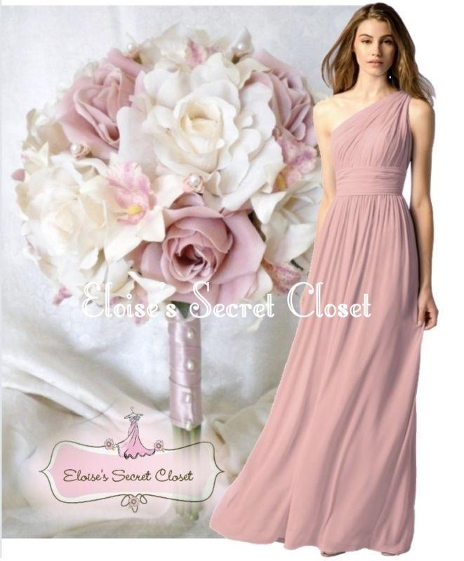 PAIGE Dusky Pink One Shoulder Chiffon Long Maxi Bridesmaid Dress UK ...