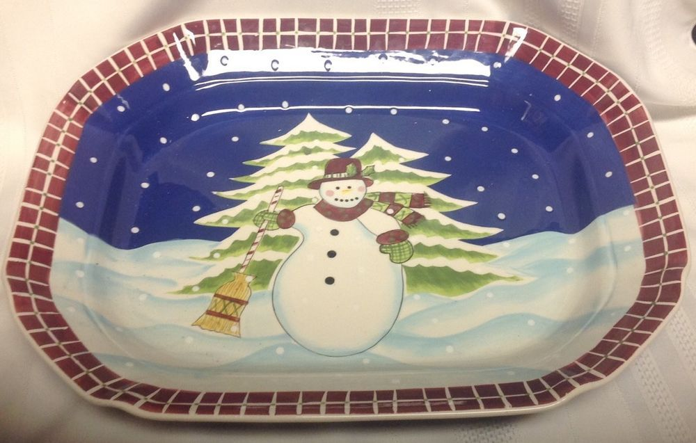 Laurie Gates Other China u0026 Dinnerware | eBay & Laurie Gates Ware Snowman Serving Platter Large 16 1/2