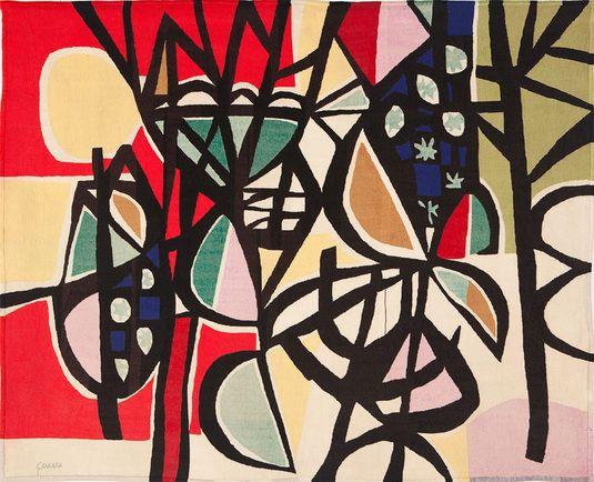 genaro de carvalho, tapeçaria, série de tema jardins da varanda (lã bordada em petit point), 1960