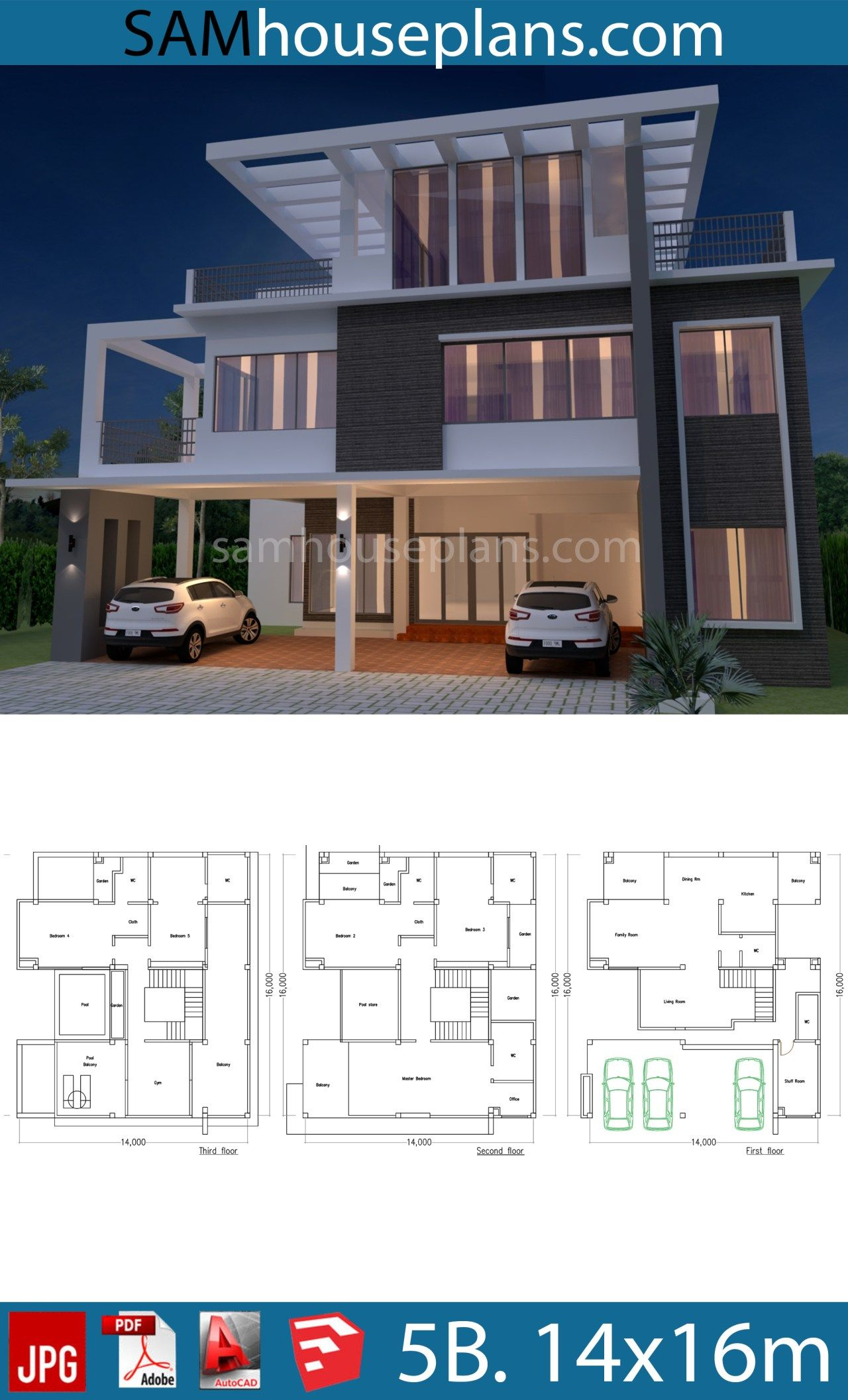 House Plan 14x16m With 5 Bedrooms Sam House Plans Building Plans House Philippines House Design Duplex House Design