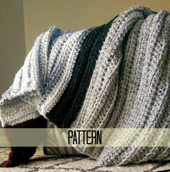Chunky Crochet Blanket Pattern Beginner Crochet Pattern By Myandgg