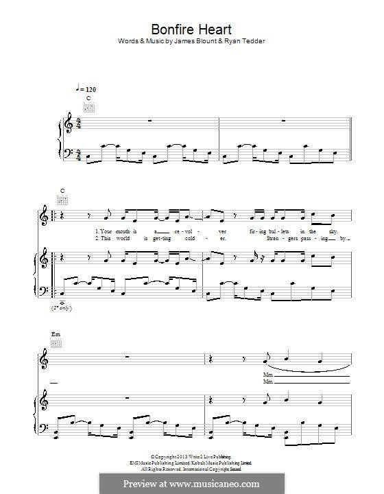 Bonfire Heart For Voice And Piano Or Guitar By James Blunt Ryan