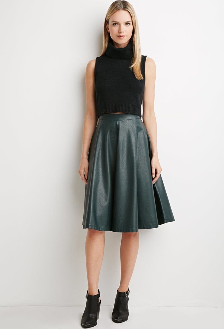 Contemporary Faux Leather A Line Skirt Skirts Midi