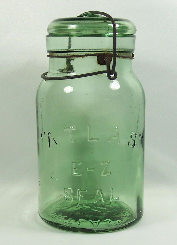 RB10 #117 ATLAS E-Z SEAL QUART CANNING FRUIT GLASS JAR OLIVE GREEN SCARCE