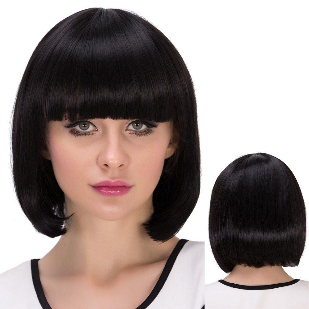 Short neat bang straight bob synthetic wig pinterest synthetic