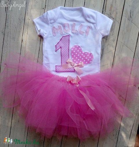 56bb91f6e2 Szülinapi babaruha, tütüs szett, pink szíves (BabyAngel | szofi ...