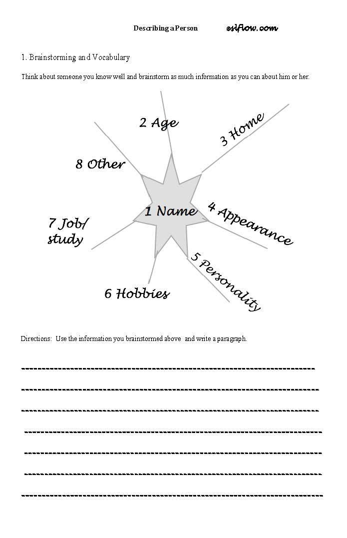 Describing-a-person-worksheet Descriptive Writing Activities, Descriptive  Writing, Writing Exercises
