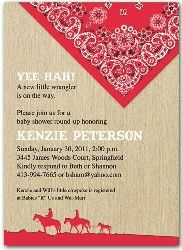 2555r Western Red Bandana Baby Shower Invitation Barbecue Baby