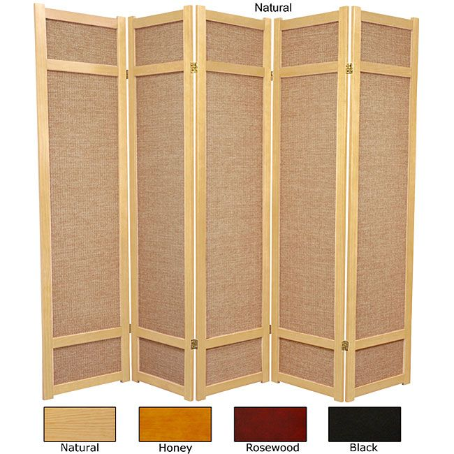 Handmade 6 Wood And Jute Room Divider Panel