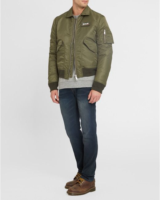 Schott Nyc | Multicolor Khaki Cwu Velcro Bomber Jacket for