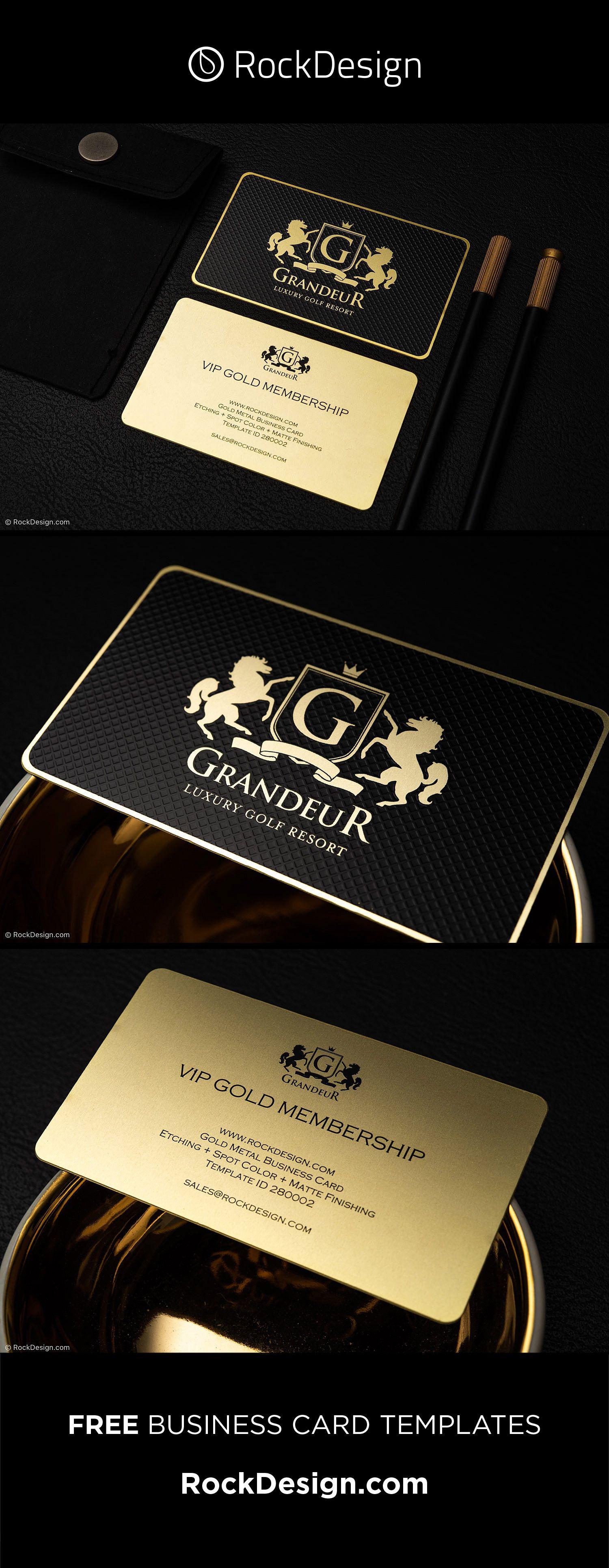 Luxury Gold Metal Business Card Grandeur Metal Business Cards Business Card Design Free Business Card Templates
