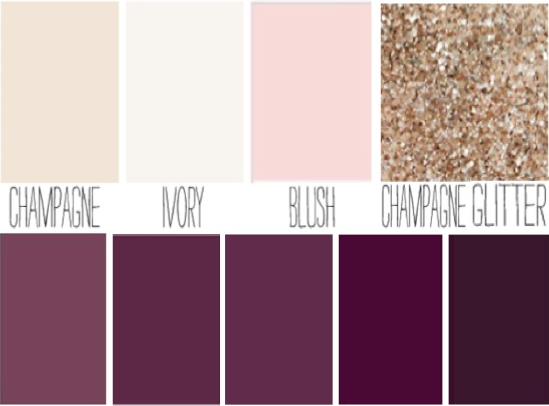 Blush Plum Ivory Champagne Sparkle Wedding Color