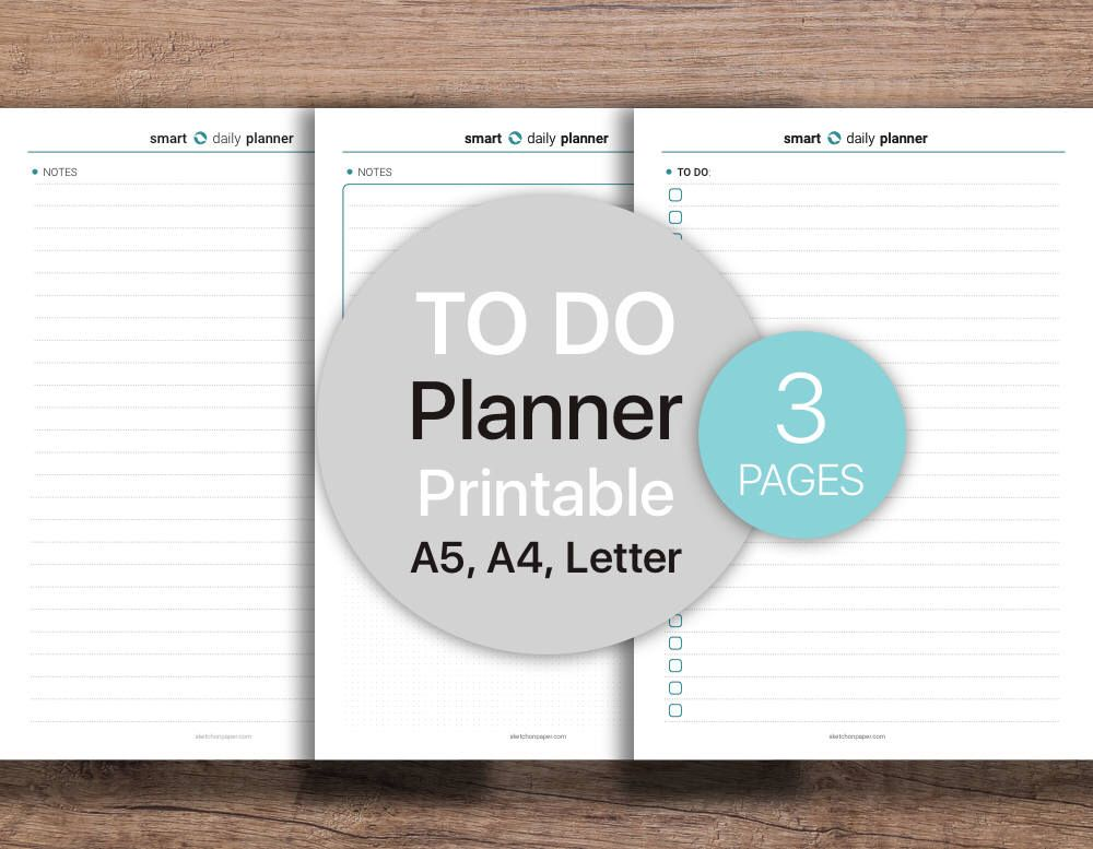 To-Do List Printable, Lined Notes, Notepad, Planner Dot grid - daily note template