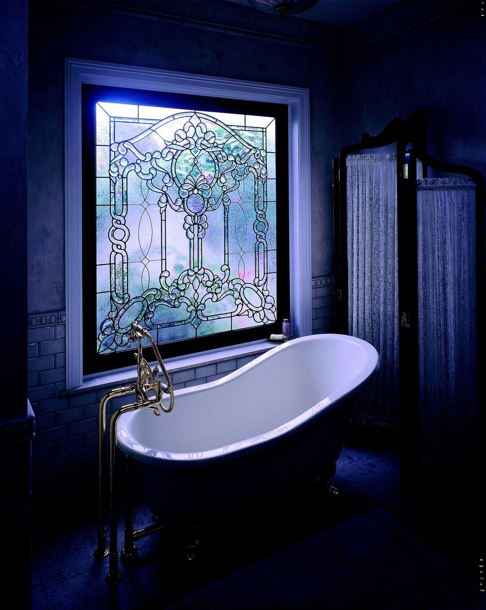 Custom Made Semi-Private Master Bath Tub Window in Leaded Beveled ...