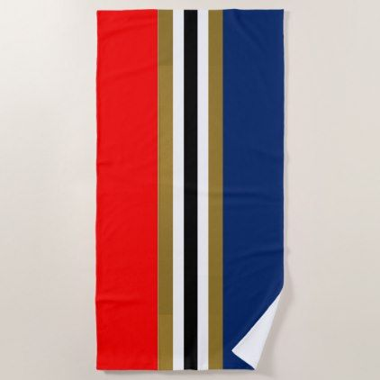 Red Gold White Black And Blue Striped Beach Towel Red Gifts