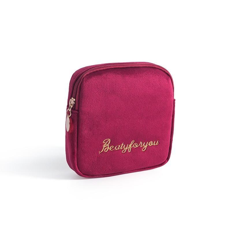 DOOZEEPA Damen Kosmetiktasche Weicher Samt Make Up Aufbewahrungstasche Pads Kulturbeutel Reise Make-Up Tasche Organizer Pouch Beauty Case – B6 – Burgundy