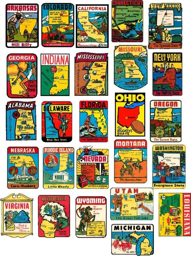 Vintage Travel Stickers 50 State Vintage Style Travel