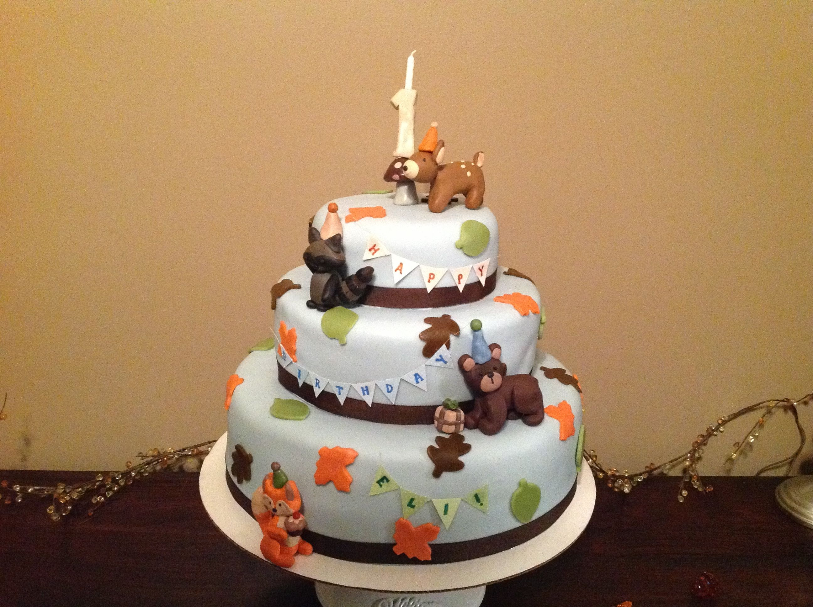 First Birthday Forest Friends Cake With Images Forest Friends